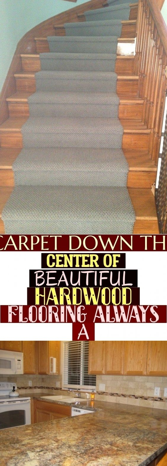 Carpet Down The Center Of Beautiful Hardwood Flooring