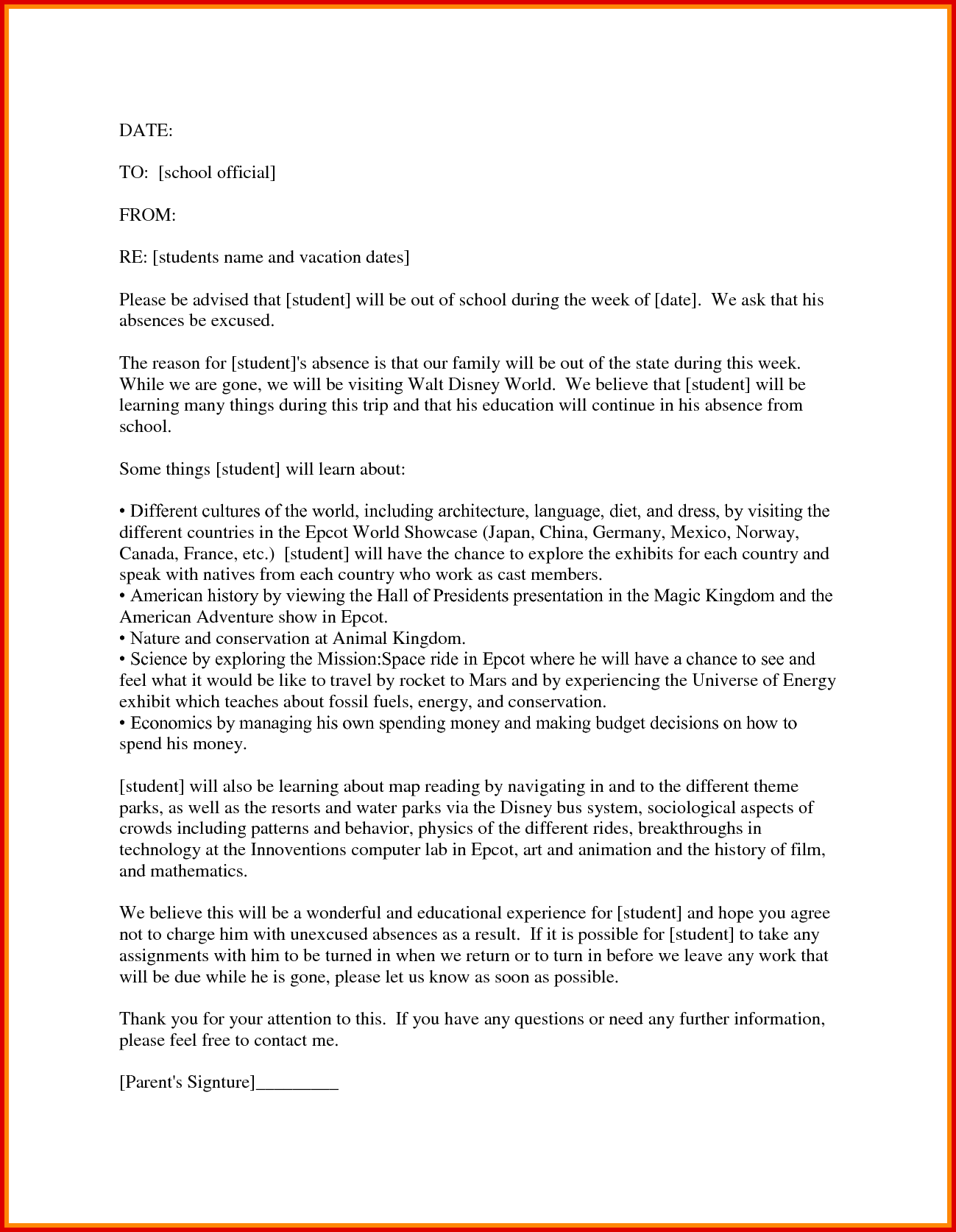 8 Vacation Leave Letter For School Cover Title Page