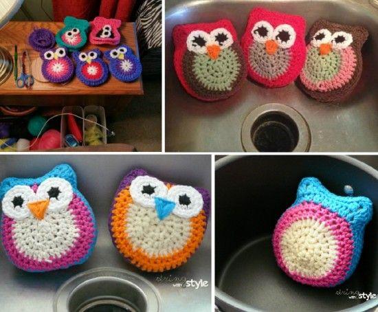 Crochet Owl Scrubbie Pattern Lots Of Cute Ideas | Lechuzas, Manta y ...