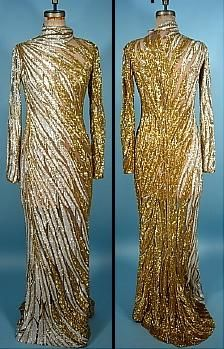 89b64a3f c.1980s - Gold & white beaded gown - Bob Mackie for Whitney Houston ...