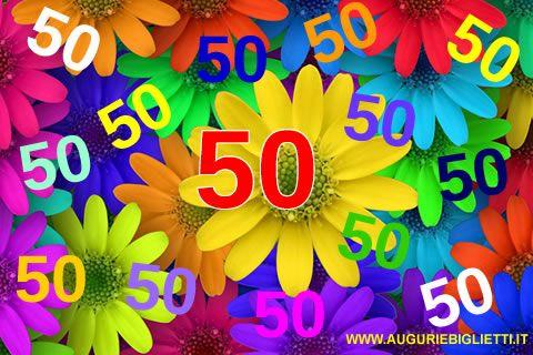 Fiori 50 Anniversario.Biglietti Auguri Compleanno 50 Anni Fiori E Farfalle Con Tante