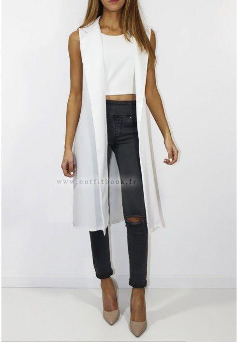 Vêtements D été · Blazer long sans manche Veste Sans Manche Femme, Veste  Blazer, Manteau, Manches, f468ed783ca