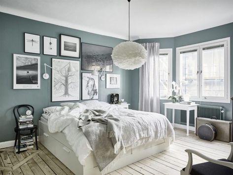 Grey Green Interior And Wooden Floors | Rustic Bedroom Interior Design |  Wooden Floors, Sage Walls | SA Decor