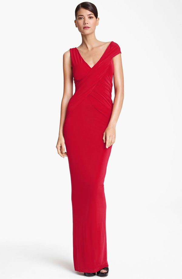 6438f3362a4 Long Red Cap Sleeve Jersey Gown