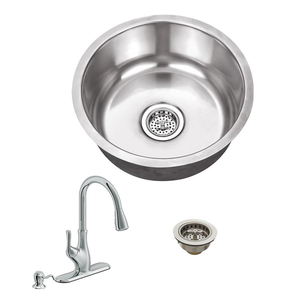 Ipt Sink Company All In One Undermount Stainless Steel 17 125 In Single Bowl Kitchen Sink With Polished Chrome Kitchen Faucet Iptsbrp7636cp Bar Sink Single Bowl Kitchen Sink Sink
