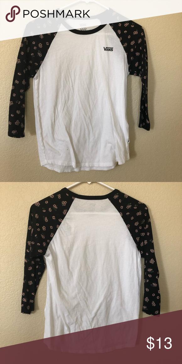 1772c07ad0 Vans 3 4 length floral shirt -Vans 3 4 shirt -floral design on sleeves  -worn a few times