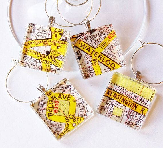 London maps British wine charms Wine Glass Charms by KellysMagnets