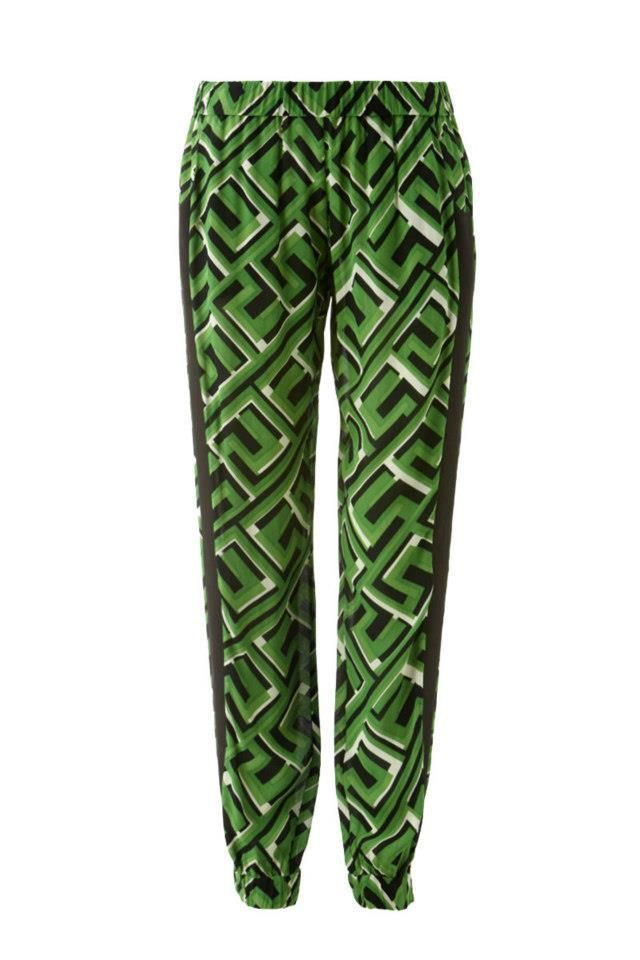 SASS AND BIDE - The Stitch Up, $180.00 by The Label Boutique. A pair of vibrantly patterned crepe pants are given a casual feel with covered elastic banding along the waistband and cuffs. Contrast trim is a vertical accent on the legs, and slant pockets lay at the hips. Fabric: Crepe. Shell: 100% viscose. Trim: 100% polyester. Dry clean  RRP: $290  PRE - LOVED PERFECT CONDITION