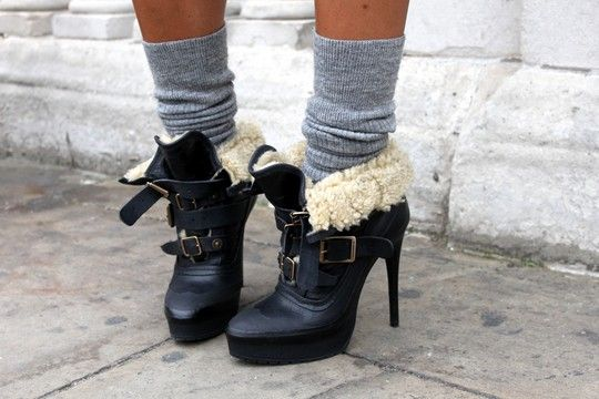Love the simultanious chunkiness an sleekness of the boots. Also liking the gray sock and always love shearling.