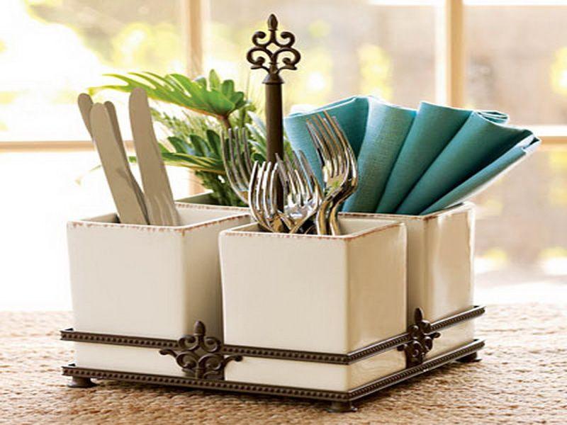 ceramic oneida flatware caddy - Silverware Holder