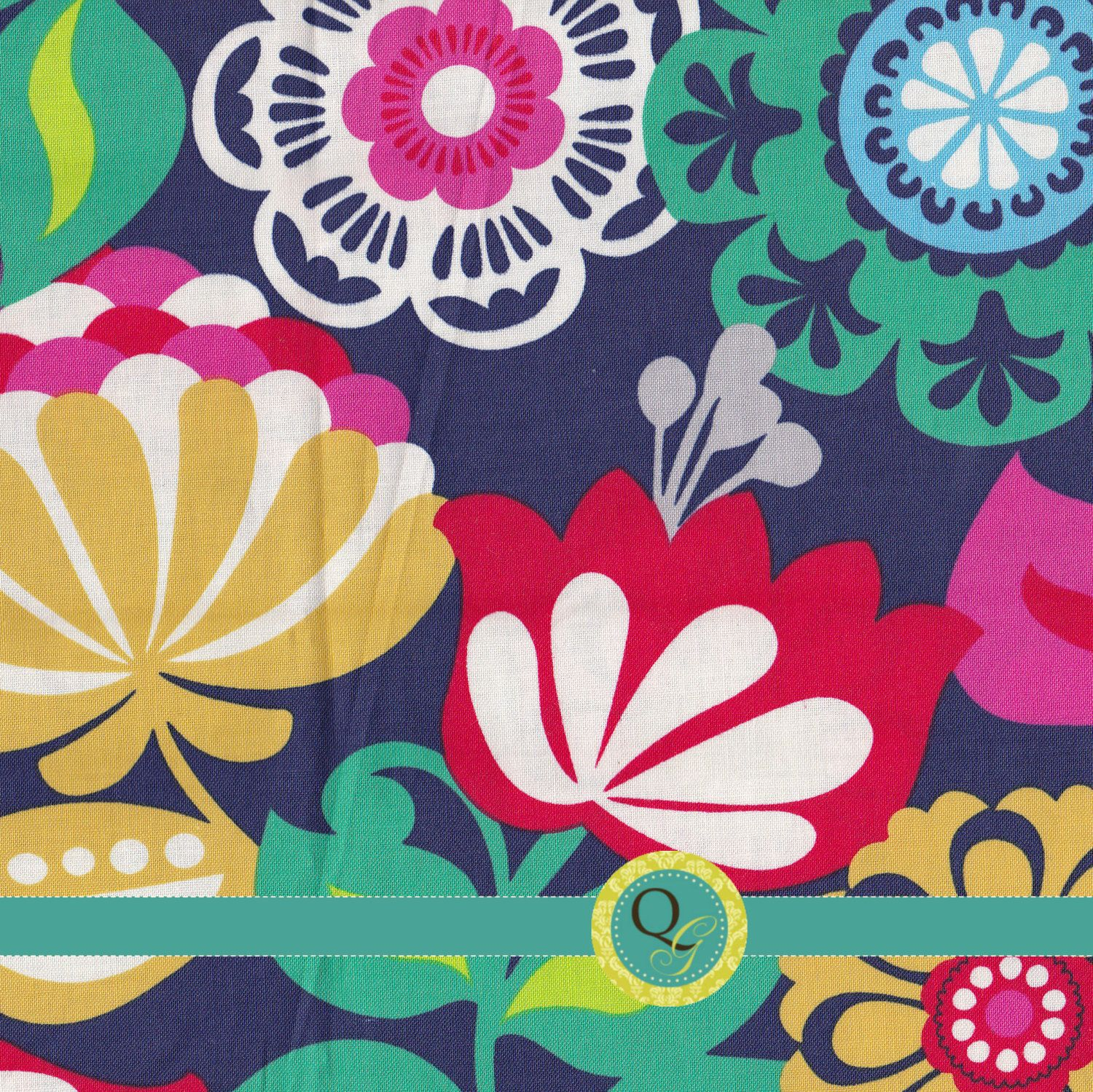Designer Fabric By The Yard Teal Navy Blue Red Pink Large Floral