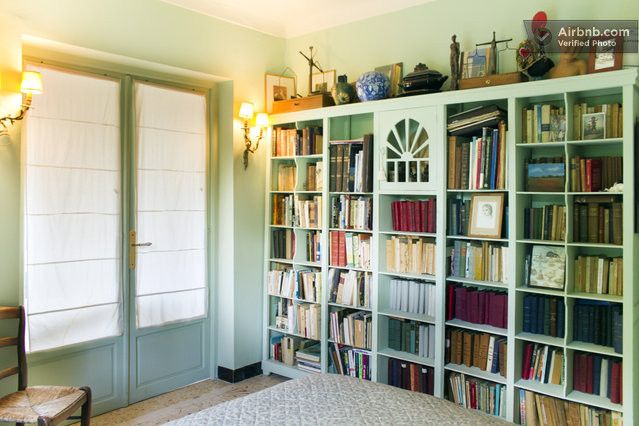 Built In Mint Green Bookcase In A Charming Villa On The French Riviera
