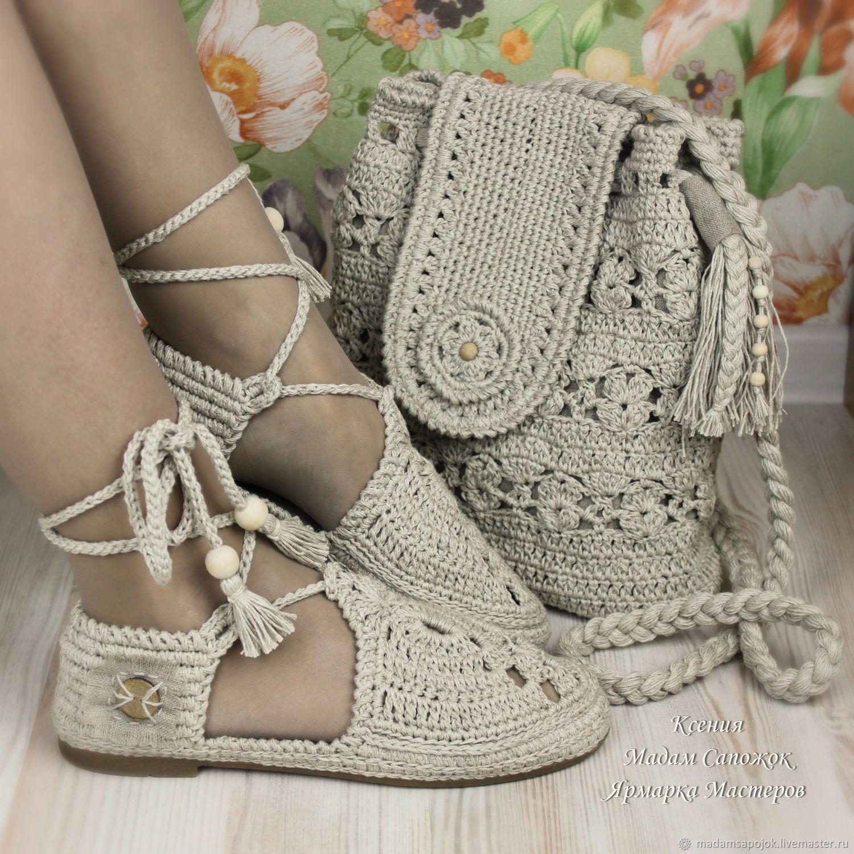 ea1f8a3941e2 Льняные сандали и сумка комплект – купить или заказать в интернет-магазине  на Ярмарке Мастеров