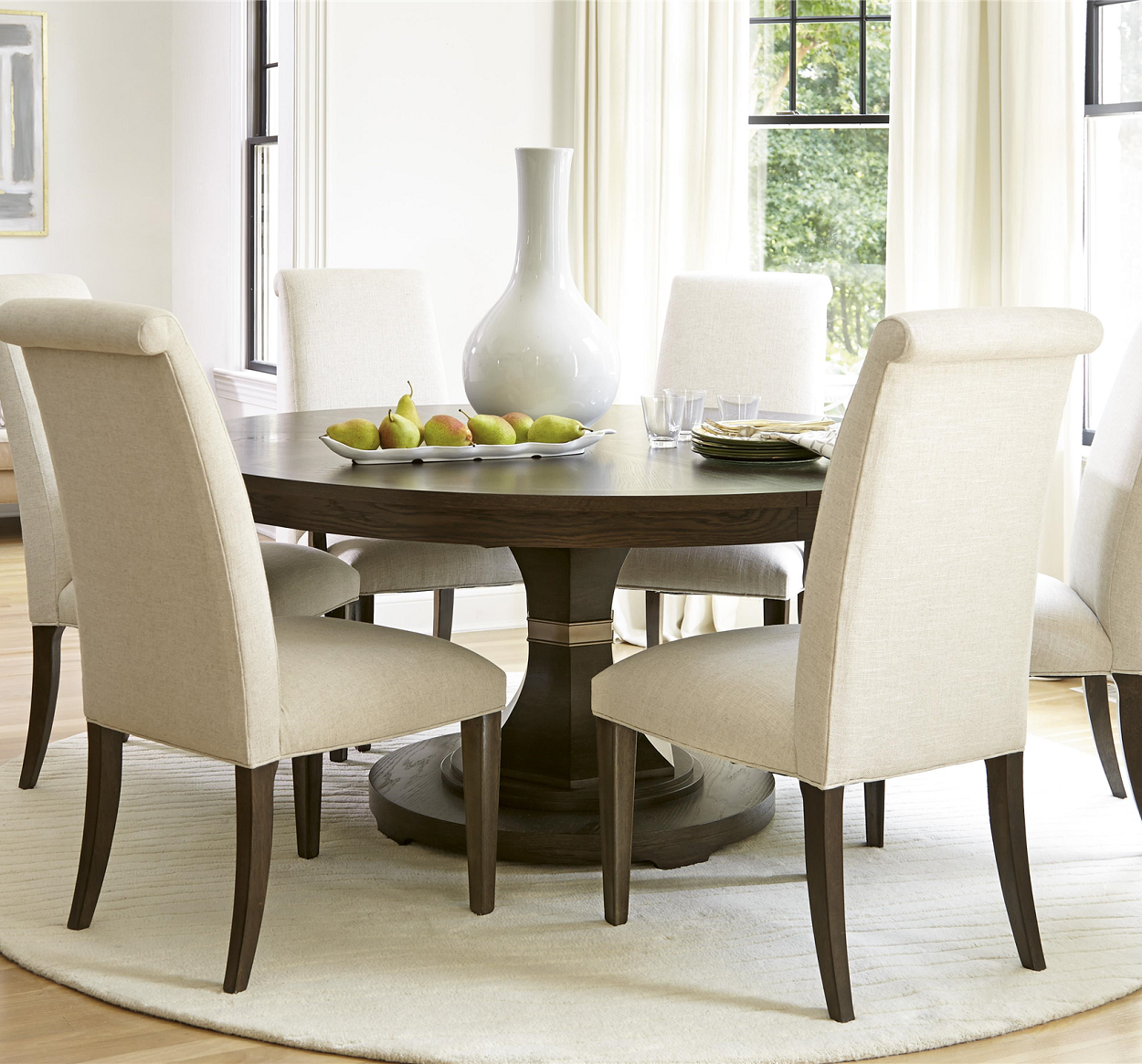 Rustic Oak 7 Piece Round Dining Room