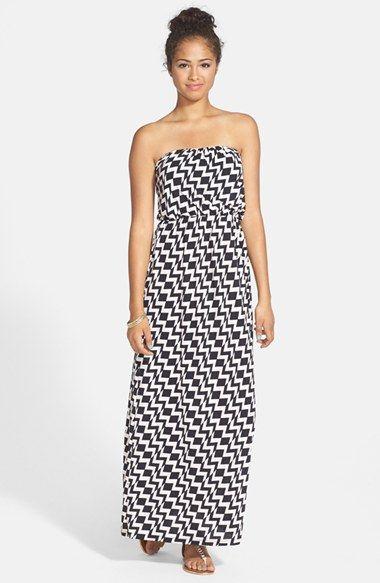 46eb42c5ecc Trixxi Zigzag Print Strapless Maxi Dress (Juniors)