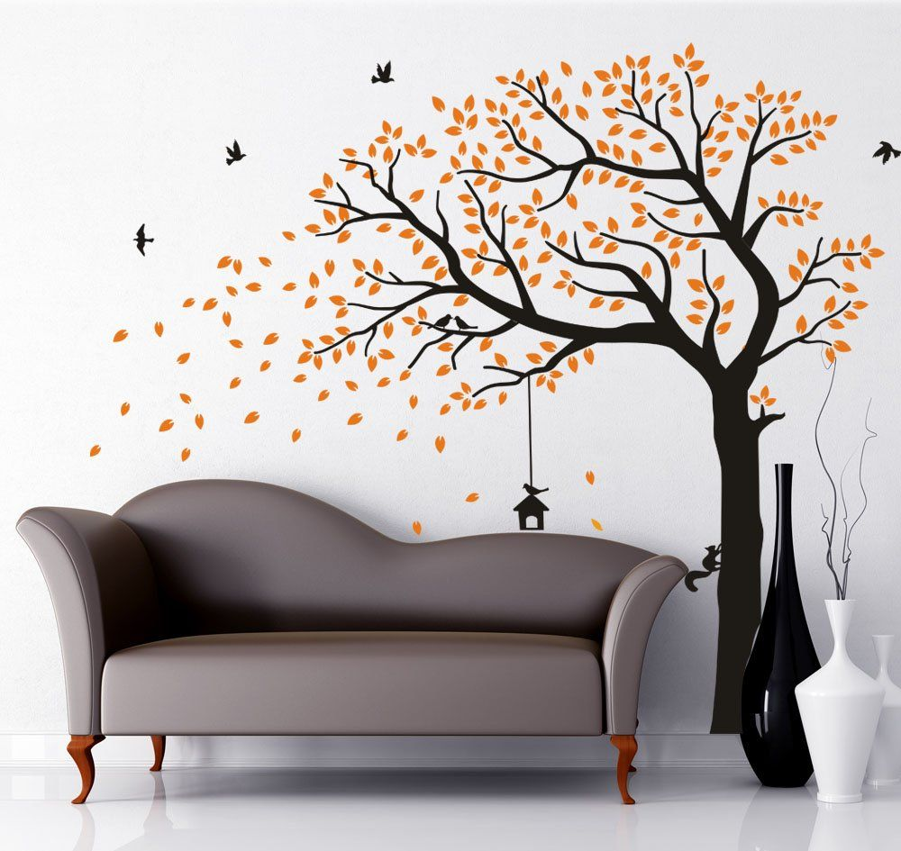 Luckkyy Large Falling Family Tree Wall Decals Wall Sticks Room