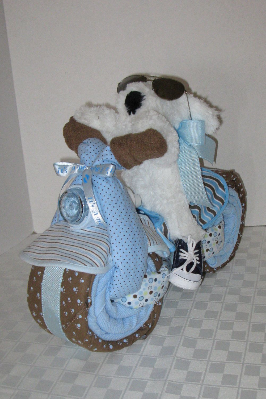 Baby Boy Gift Cake : Motorcycle bike diaper cake baby shower gift centerpiece