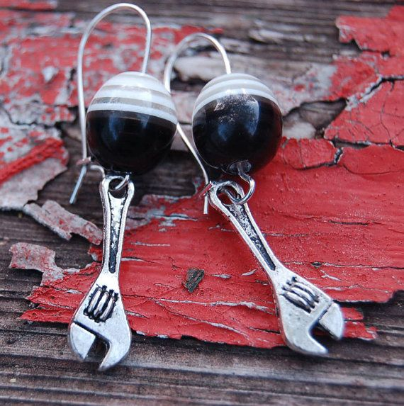 Wrench Earrings Tool Time Girl Gear Head by SparklingBagCandy, $8.99  free shipping USA