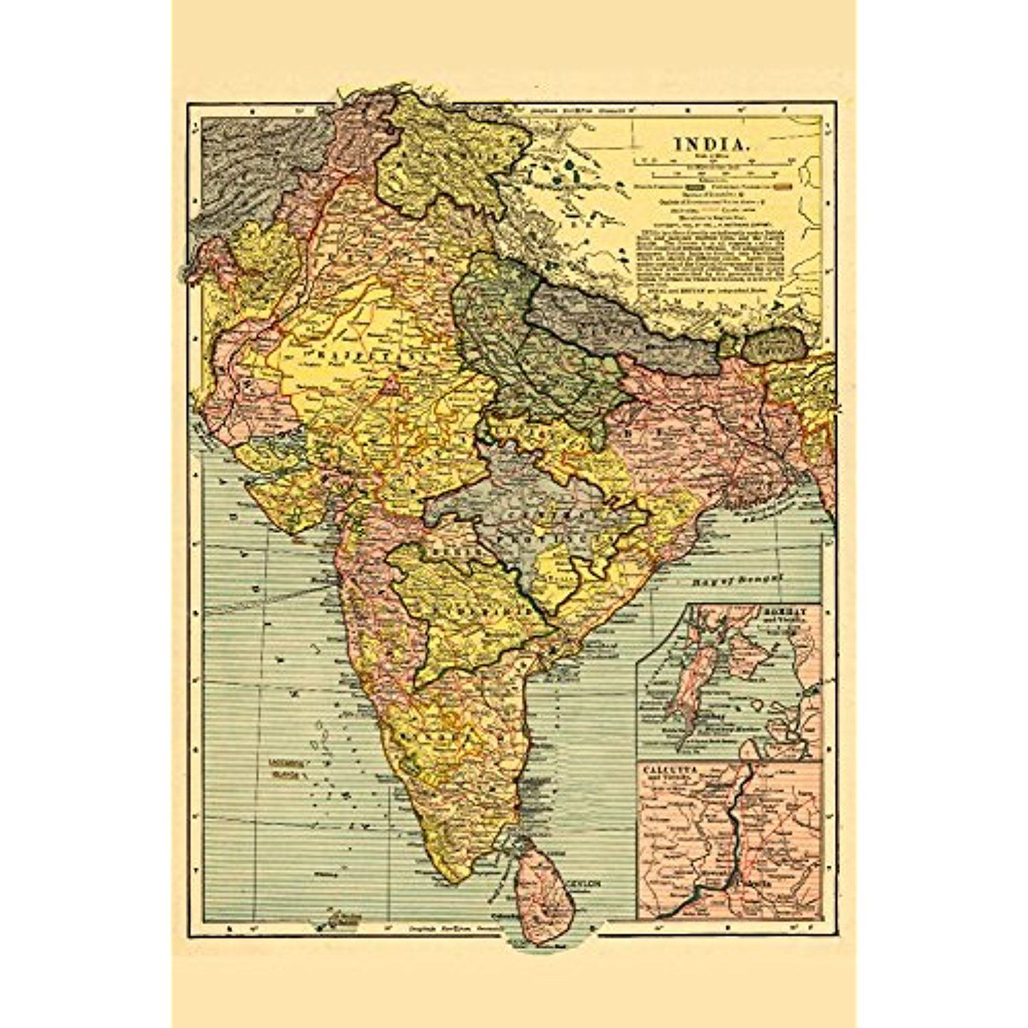 India - Panoramic Map (12x18 SIGNED Print Master Art Print w ...