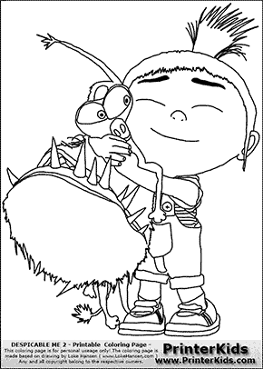 Despicable Me Agnes WE HAVE A DOG Coloring Page Coloring page