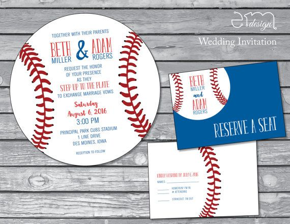 Baseball Wedding Invitation Round Baseball invitation Baseball