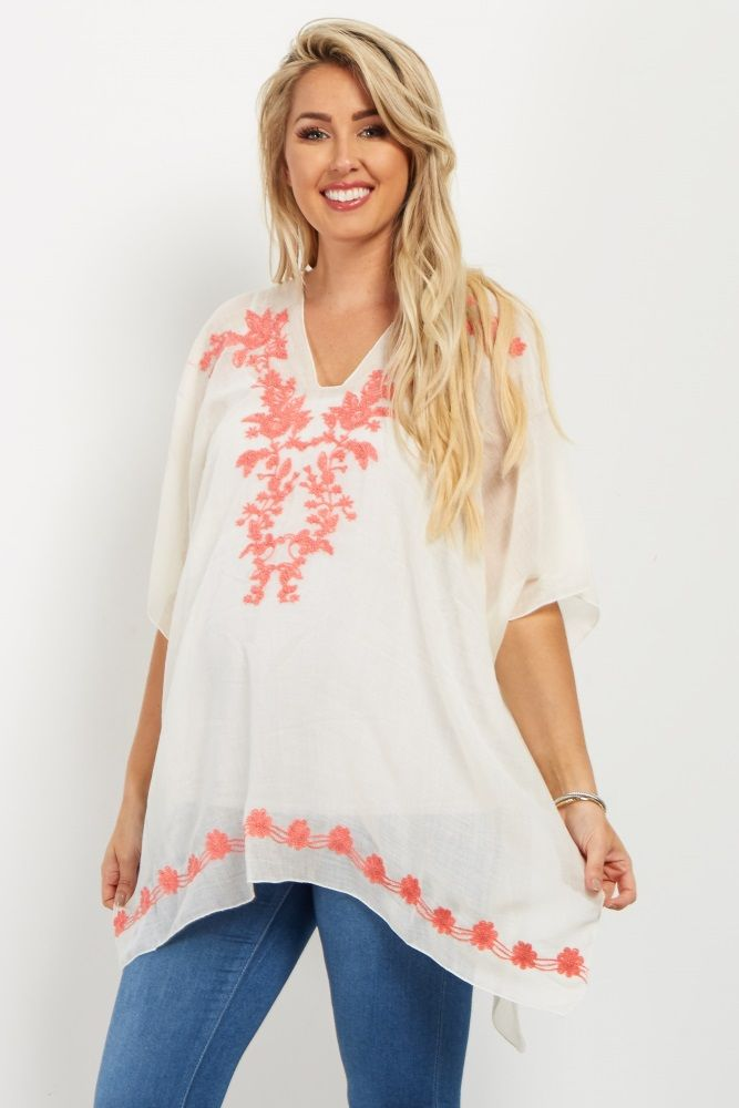 Coral Floral Embroidered Poncho Top