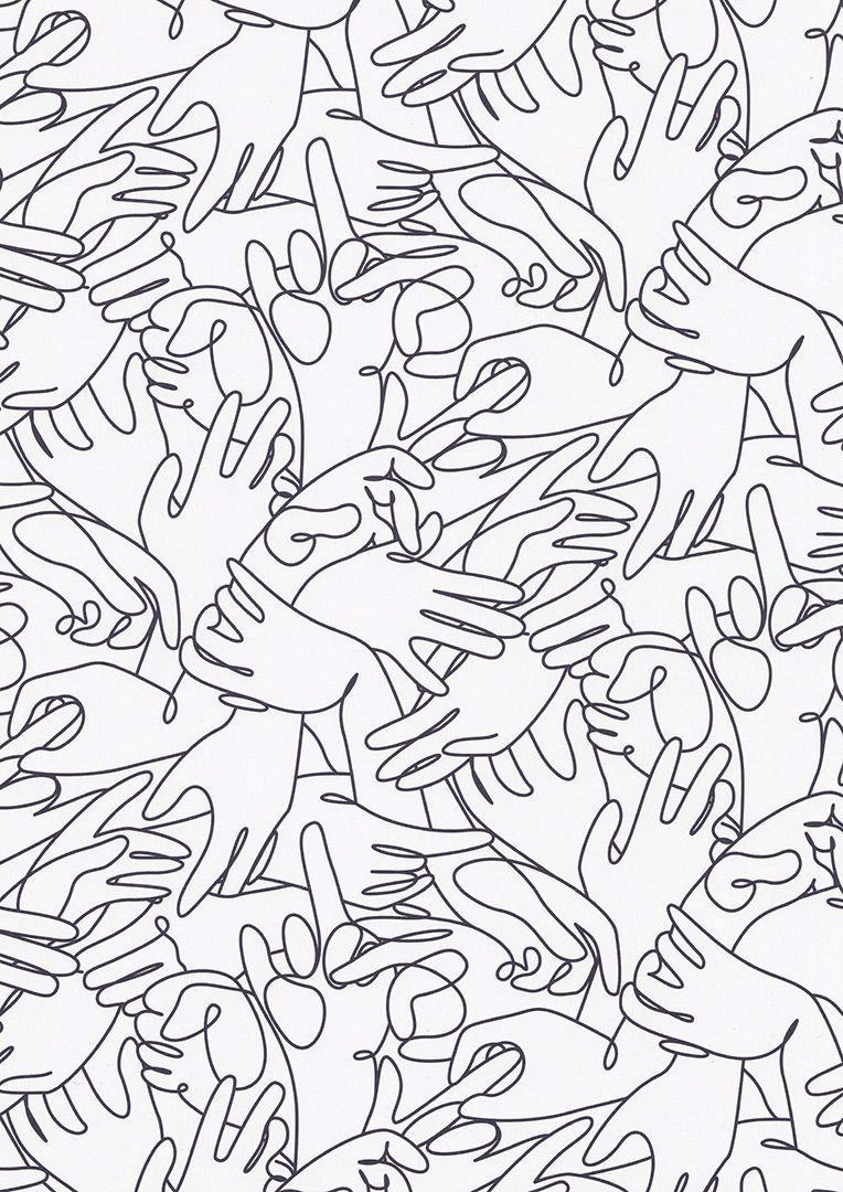 Hands line design pattern by minimalist artist duo dft