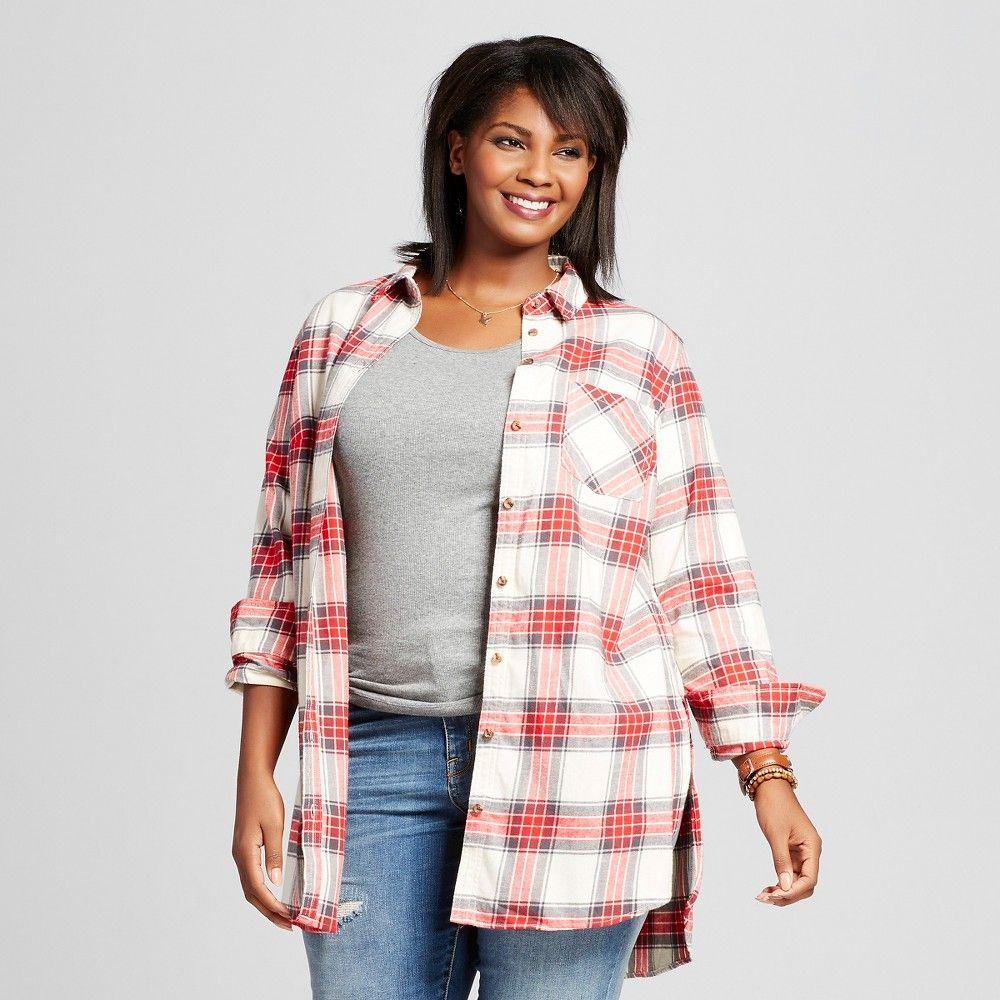 45d476d43a9a6 Women s Plus Size Plaid Flannel Tunic Red 3X - Ava   Viv