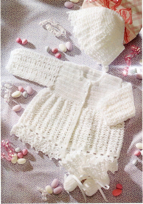 Baby CROCHET PATTERN crochet matinee jacket bonnet bootees crochet ...