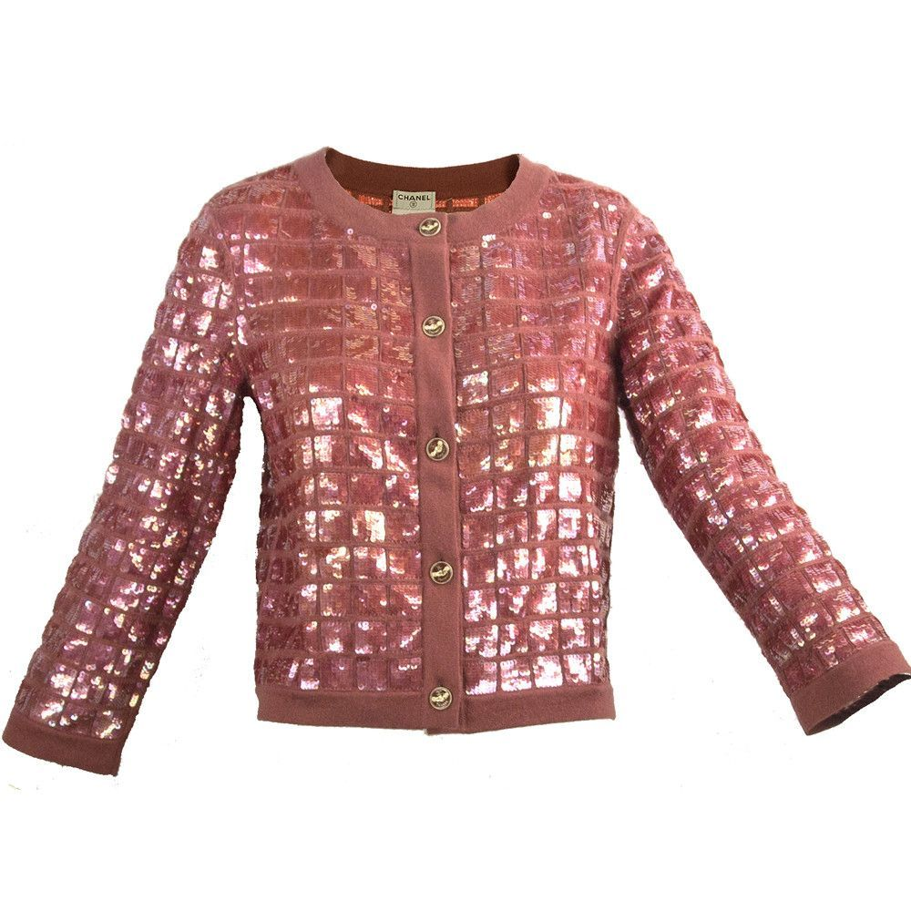 Chanel Plum Cashmere Sequin Cardigan | Sequin cardigan, Cashmere ...