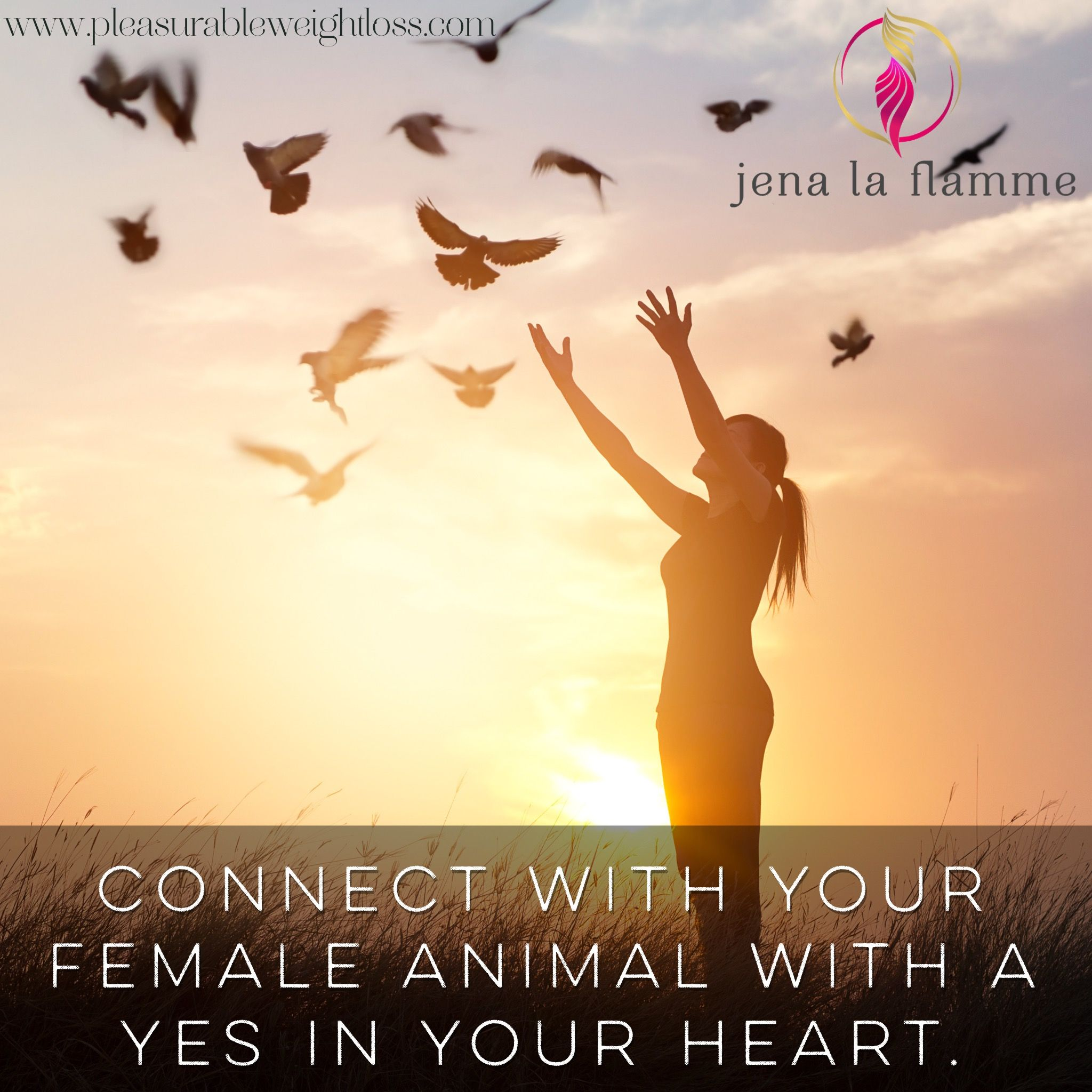 Connect with your female animal with a yes in your heart.  #jenalaflamme #pleasurableweightloss #pleasurerevolution