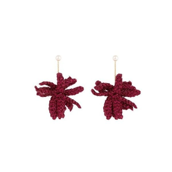Lucy Folk Spritz crochet-flower and pearl earrings (€275) ❤ liked on Polyvore featuring jewelry, earrings, pink, pearl jewellery, pink pearl jewelry, crochet earrings, pink jewelry and white pearl earrings