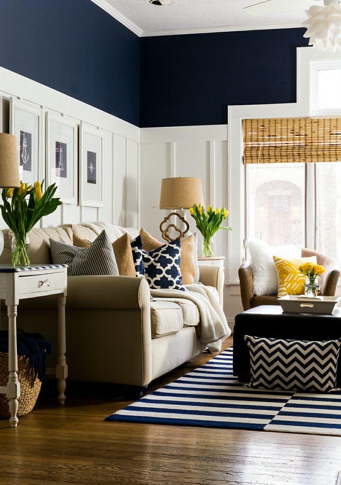 farben naval im wohnzimmer mit weiß kombinieren Wandgestaltung