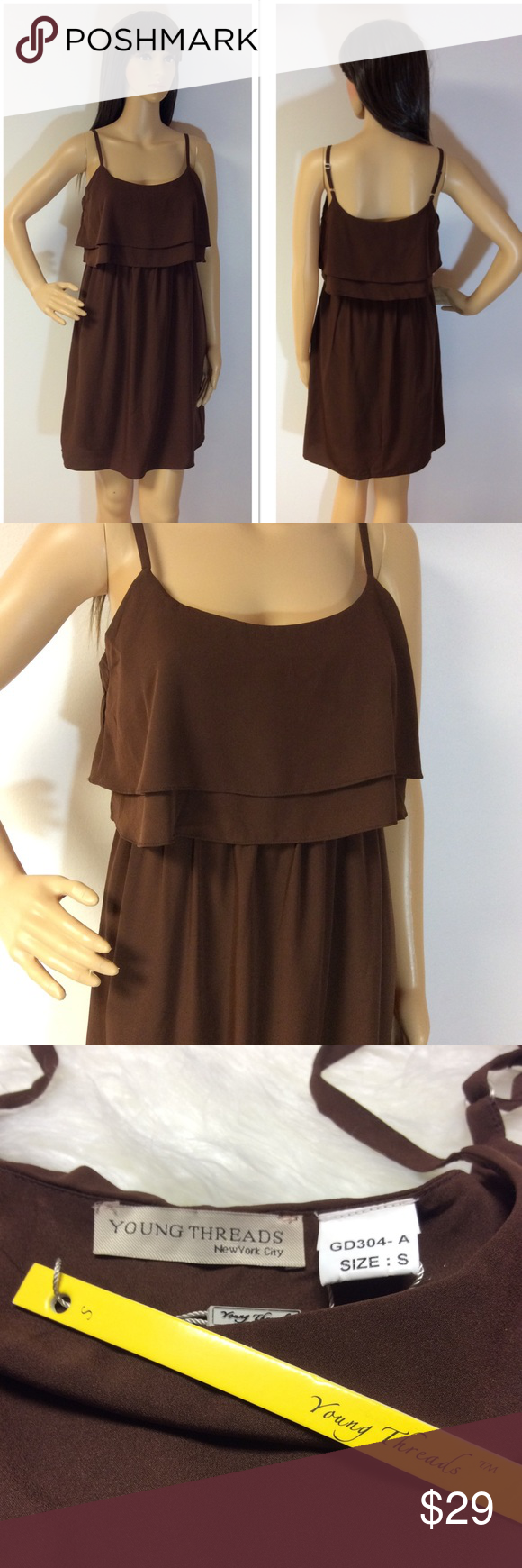 Young threads brown dress boutique my posh closet pinterest