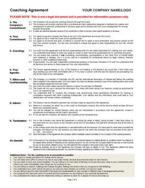 Coaching Agreement Contract Template Sample  Tool Company And