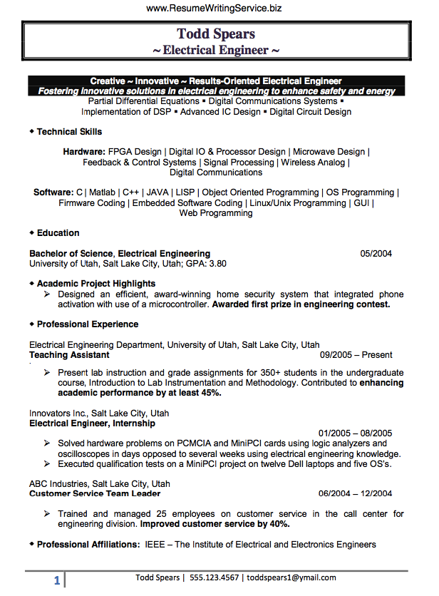 Find An Electrical Engineer Resume Sample Here Engineering Resume Electrical Engineering Jobs Resume