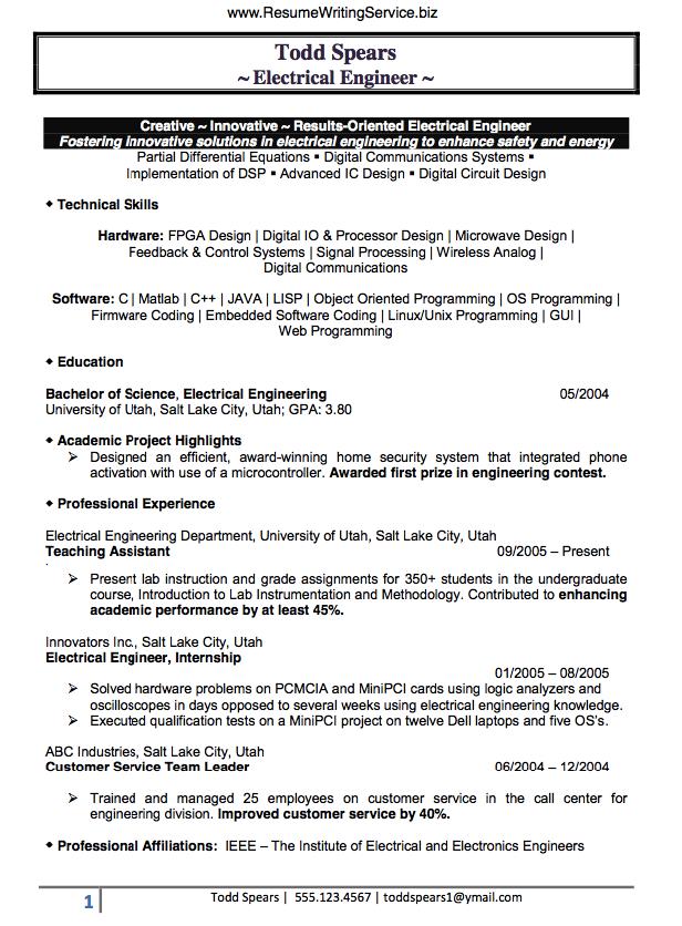 Electrical Engineer Resume Sample  Business  Engineering resume Resume format Resume