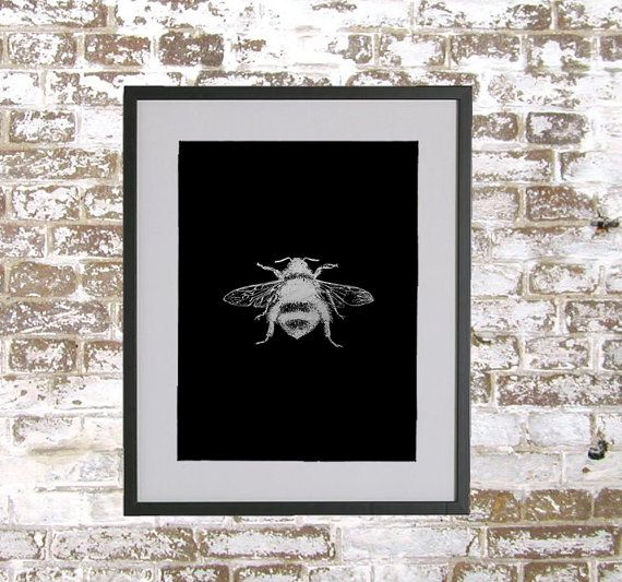 Bumble Bee  Silver Foil Print by HopelessRomantics14 on Etsy, £10.00