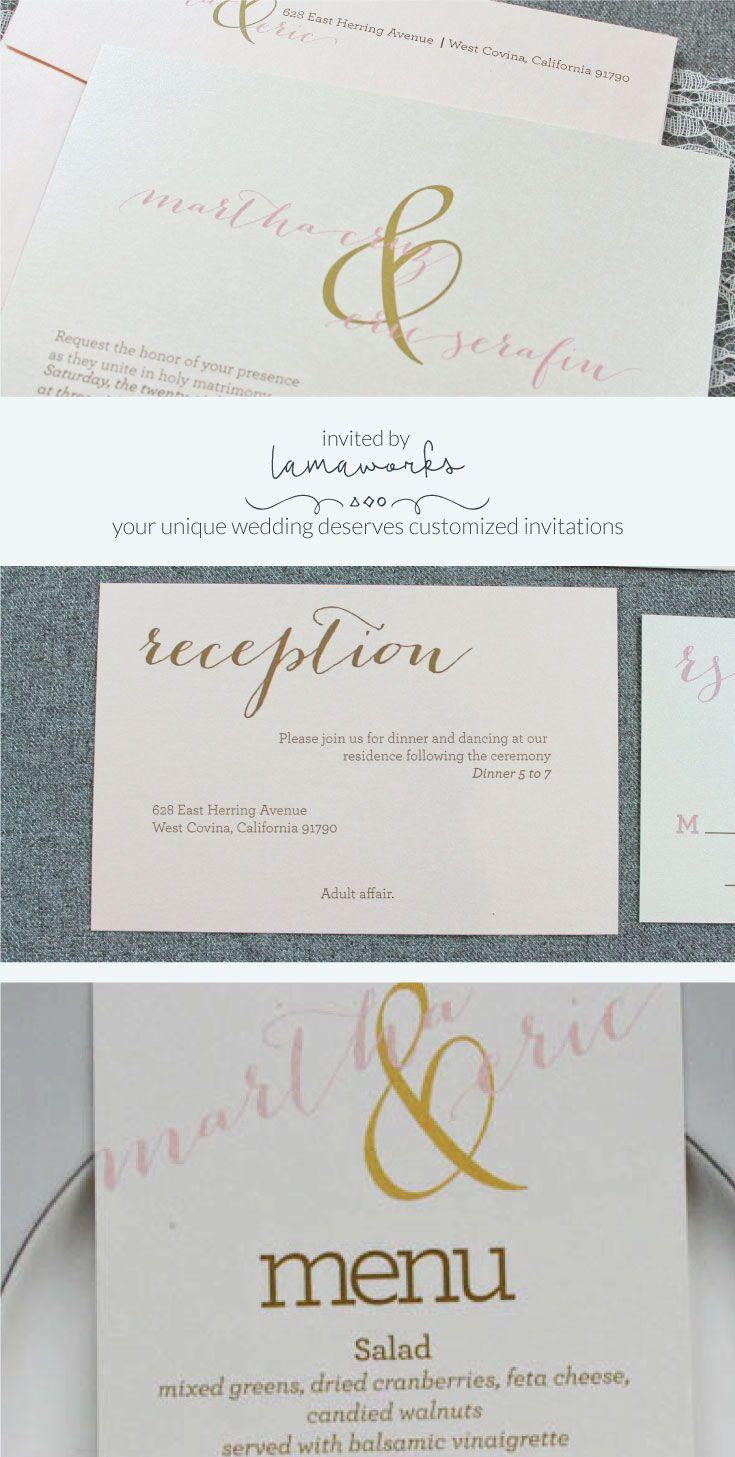 Gold Wedding Invitation, Pink and Gold Wedding Invitations, Blush ...