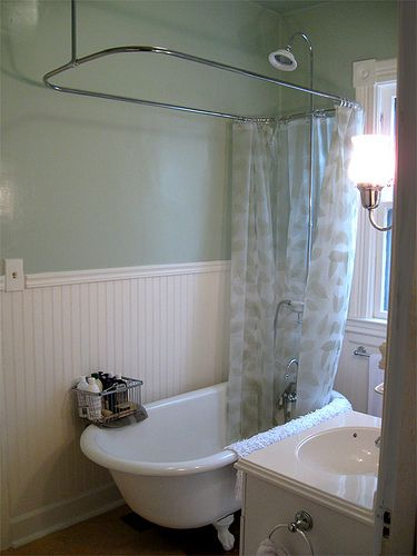 Refinished Clawfoot Tub With Shower Kit  Shower Kits Tubs And Pleasing Bathroom With Clawfoot Tub Ideas Design Ideas