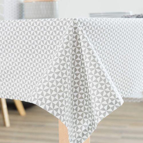 Nappe en coton blanche grise 150 x 250 cm ZIGGY Déco maison et