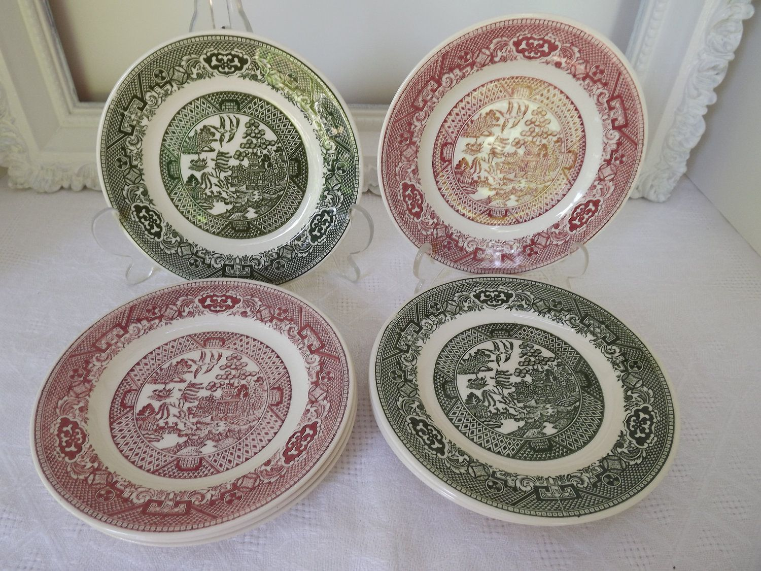 Vintage Willow Ware By Royal China Eight Butter Plates in Green / White \u0026 Pink / White Circa & pink willow ware - Google Search | Willow Ware | Pinterest | Ware ...