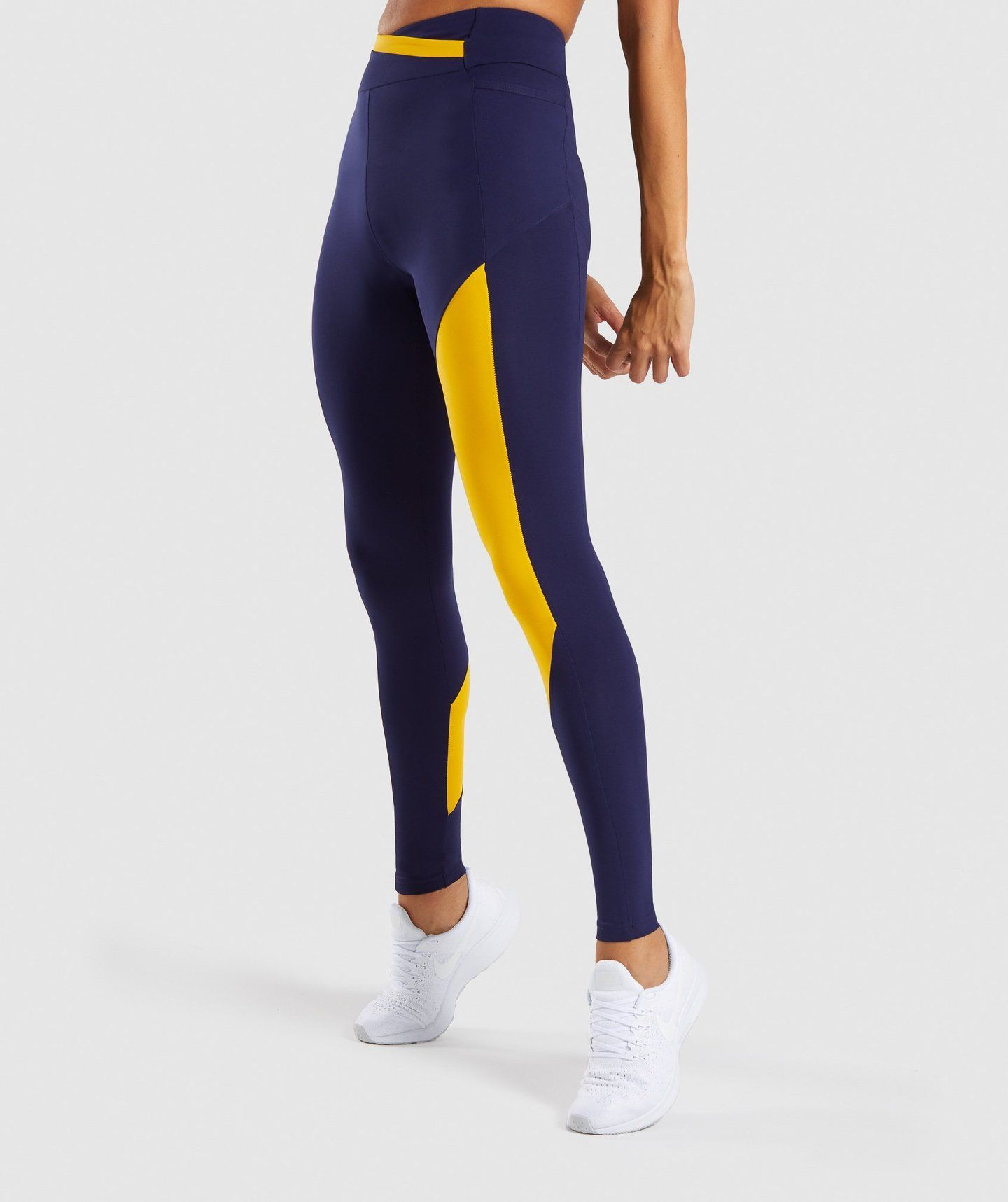 b1ed9b8b7c188 Gymshark Asymmetric Leggings - Evening Navy Blue/Citrus Yellow | Gym ...
