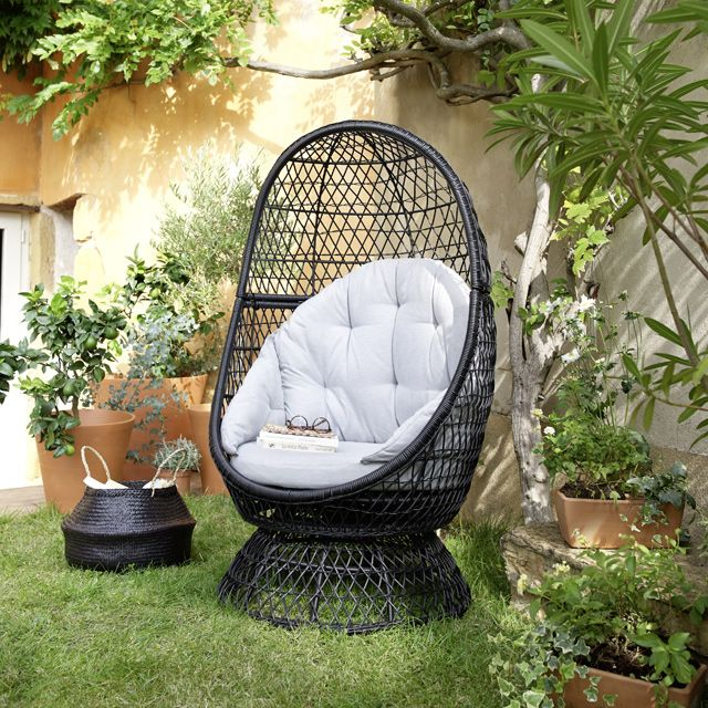 fauteuil oeuf de jardin en rotin anya castorama. Black Bedroom Furniture Sets. Home Design Ideas