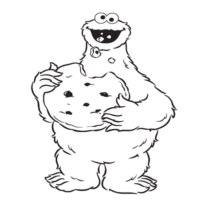 Cookie Monster Coloring Pages Cookie Monster Eat Cookie Coloring