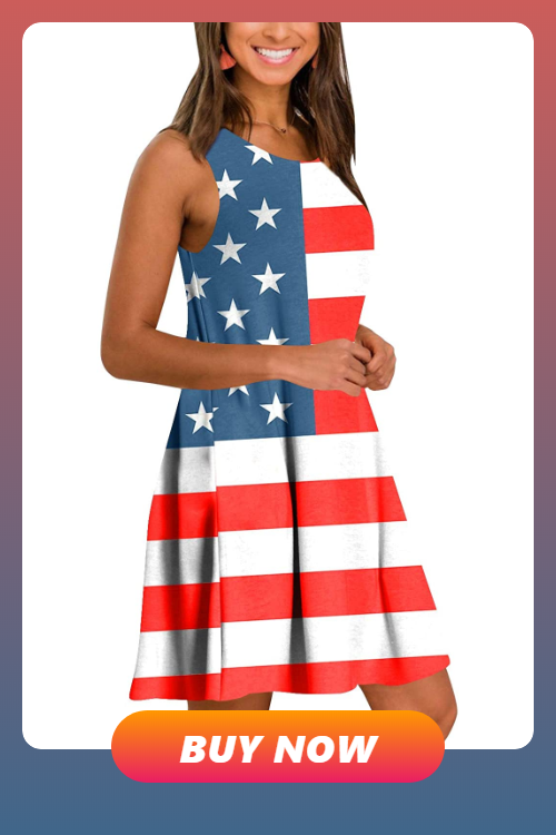 For G and PL Womens American Flag July 4th Sleeveless Tank Maxi Dress with Pockets