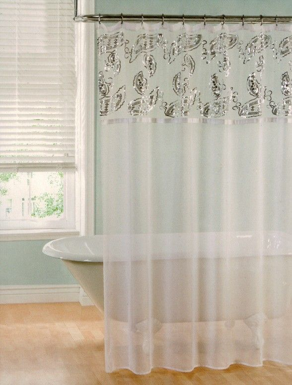 LILY SHEER SEQUINS SHOWER CURTAIN WHITE - 70X72 - $7.99 | Linen ...