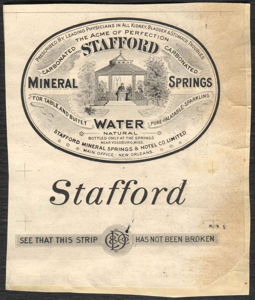 Stafford Mineral Springs Water New Orleans bottle label ...