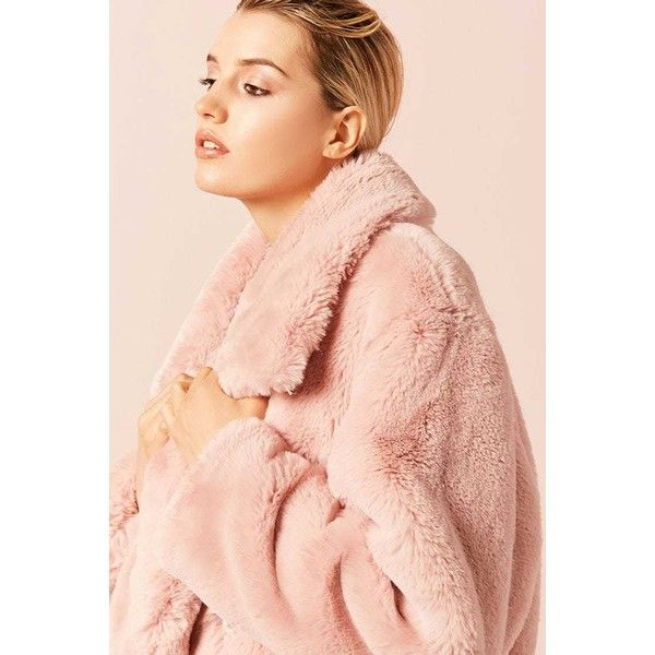 Jakke Mid Length Faux Fur Coat In Animal Stripe Pink