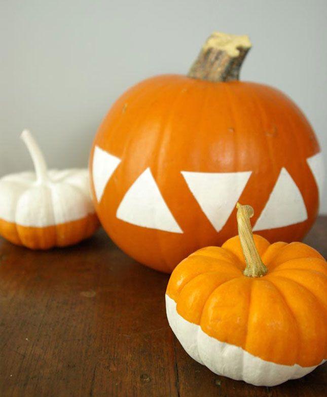 18 Super Chic No-Carve Pumpkins via Brit + Co a u t u m n - halloween pumpkin painting ideas
